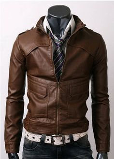 Slim-fit Light Brown Jacket Jacket Features: Outfit type: Leather Jacket Gender: Male Color: Dark Brown Front: Front Zip Closure Collar: Zipped Collar Lining: Viscose Lining Pockets: Four pockets Brown Leather Jacket Men, Biker Leather, Brown Jacket, Dark Brown Leather, Leather Men, Leather Jackets, Lambskin Leather, Motorcycle Leather, Cowhide Leather