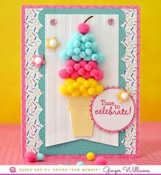 Make the cutest ice cream cone card ever with the Birthday Bash Card Kit! Homemade Birthday Cards, Girl Birthday Cards, Birthday Bash, Homemade Cards, Birthday Gifts, Digital Scrapbook Paper, Scrapbook Cards, Papyrus Cards, Tarjetas Diy