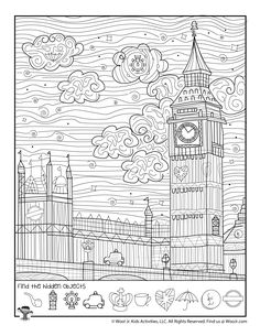 London Big Ben Hidden Activity Page London With Kids, Big Ben London, Games To Play With Kids, Activities For Kids, Puzzles For Kids, Worksheets For Kids, Hidden Picture Games, Find The Hidden Objects, Hidden Pictures