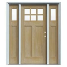 6 Lite Craftsman Unfinished AuraLast Pine Solid Wood Entry Door with Two 14 in. Sidelites and Primed White Jamb-THDJW185200013 at The Home Depot -$732.15