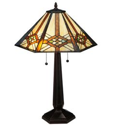 """26""""H Tiffany Crosshairs Mission Southwest Table Lamp"""