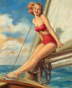 Ahhh, the simple joy of a warm ocean breeze blowing through your hair. #sailboat #vintage #summer #pinup