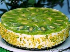 Easy cheesecake with a kiwi which doesn't need to be baked in an oven! Best Pasta Recipes, Cheese Recipes, Baking Recipes, Cake Recipes, Dessert Recipes, Bolo Grande, Diet Cake, Salty Cake, Sweet Cakes
