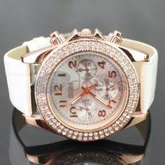 The upscale white belt watch