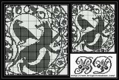 Fox and crow. Aesop's fable: sour grapes. Free sewing pattern graph for cross stitch.