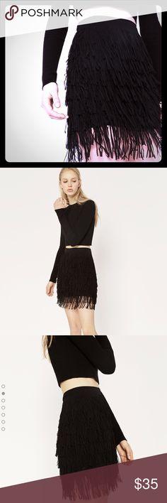 Zara fringed skirt 2016 , Very light weight flowy fringe , so gracefull , black 2016 NWT, 100% polyester ,lined in 100%polyester Zara Skirts Mini