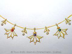 Collier tout or , fleurs de lotus, saphir, émeraude, rubis et diamants.