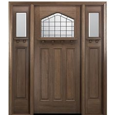 MAI Doors WP702P-1-2 Westport Exterior Mahogany Door and Sidelites with a Unique Glass Design and Dentil Shelf
