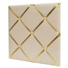 """White Linen Bulletin Board with Gold Straps 20""""x20"""" - Pillowfort™ : Target"""