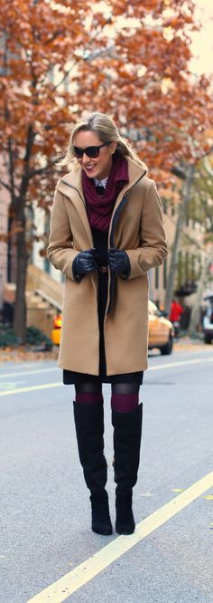 The Classy Cubicle: Like A Pilgrim {black friday, ann taylor, michael kors, brooks brothers, coach, prada, camel coat, leather trim, over the knee boots, thigh high burgundy socks, collar tips}
