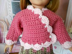 After knitting a couple surplice sweaters, I decided to design a crochet one for the dolls. Here it is! Quick and easy. Enjoy.