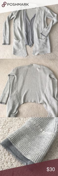 Lululemon Sweater Grey Lululemon sweater with button up cardigan inside very cozy! Great condition!! lululemon athletica Sweaters Cardigans