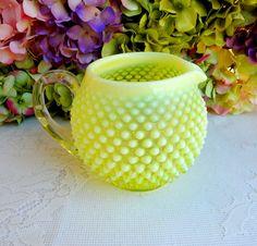 Vintage Fenton Art Glass Yellow Vaseline Topaz Opalescent Hobnail Pitcher #Fenton