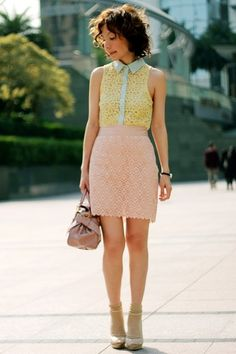 i have a light pink skirt and now i know what color of top to wear it with! pastel yellow!