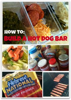 How to Build a Hot Dog Bar-mustard,  hot TN chow chow, ketchup, onions,  jalapenos, cheese, sweet relish