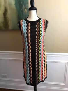 Missoni for Target Chevron Sleeveless Knit Shift Dress Zig Zag Women's SZ Large #Missoni #ShiftSweaterDress