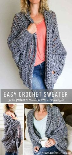 Creatively constructed from a simple rectangle, this flattering chunky crochet sweater comes together easily with no shaping. Free pattern & video tutorial! via @makeanddocrew