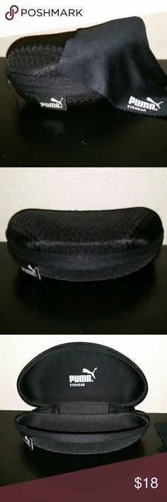 """Puma glasses/sunglasses black case Pre-owned black fabric puma glasses or sunglasses case with cleaning cloth included.  Length 6"""" aprox  Height 2"""" aprox  Wide 3"""" aprox  I'm open to offers, bundle to save!!! Puma Accessories Sunglasses"""