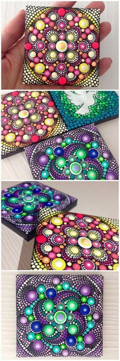 Looking for some cool crafts teens can make and sell for extra cash? Check out these cool step by step tutorials for fun room decor, easy DIY gift ideas, fun fashion accessories, school supplies and more. Mandala Art, Mandala Painting, Mandala Design, Mandala Painted Rocks, Mandala Rocks, Painted Stones, Dot Art Painting, Stone Painting, Rock Crafts