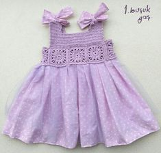 IG ~ ~ crochet yoke for girl's dress - SalvabraniThis post was discovered by As Crochet Tutu, Crochet Dress Girl, Crochet Yoke, Crochet Fabric, Crochet Girls, Crochet Clothes, Baby Tulle Dress, Little Dresses, Little Girl Dresses