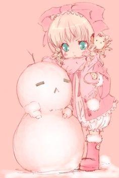 Cute Hinaichigo with a snowman | Rozen Maiden