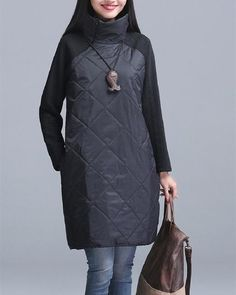 2016 Plus Size Autumn Winter Women Dress Turtleneck Casual Loose Patchwork Robe Cotton Soft Black Gray Red Tunic Vestidos Warm Dresses, Winter Dresses, Loose Dresses, Red Tunic, Long Parka, Dress Vestidos, Mantel, Winter Fashion, Models
