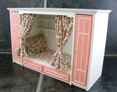 Dolls House Miniature Bedroom Furniture Pink & White Box Bed & Wardrobes