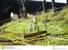 Biker doing cyclocross at Acquedotti Cinecitta in Rome.