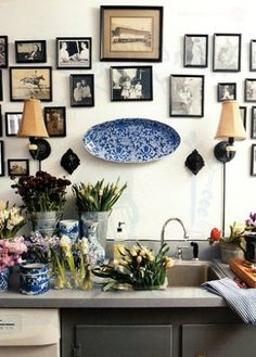 Home: Eleven Inspiring Gallery Walls (via My Many Moments: Not Just Another Kitchen)