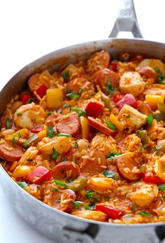 YIELD: ABOUT 6-8 SERVINGS JAMBALAYA Learn how to make this easy and delicious homemade jambalaya! PREP:15 MINS COOK:40 MINS TOTAL:55 MINS INGREDIENTS: 3 Tbsp. olive oil 2 ribs celery, chopped 1 white onion, diced 1 small red bell pepper, cored and diced 1 small yellow bell pepper, cored and diced 1 small green bell pepper, …