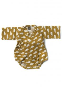 Baby Kimono Body Suit in brown whales designs from Zebi