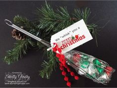"""We """"whisk"""" you a Merry Christmas. Looking for a fun and pretty funny Christmas gift?   My pretty punny Christmas gift was made with the Christmas Bliss Stamp Set (pictured online only) and Real Red Pompom Trim from the 2015 Stampin' Up! Holiday Catalog to make a pretty punny Christmas gift.""""Whisk"""" everyone a Merry Christmas! Pick up an inexpensive whisk at a discount for store. http://www.stampinsmiles.com/2015/11/pretty-punny-christmas-gift.html #handmadechristmasgifts #punnychristmasgifts"""