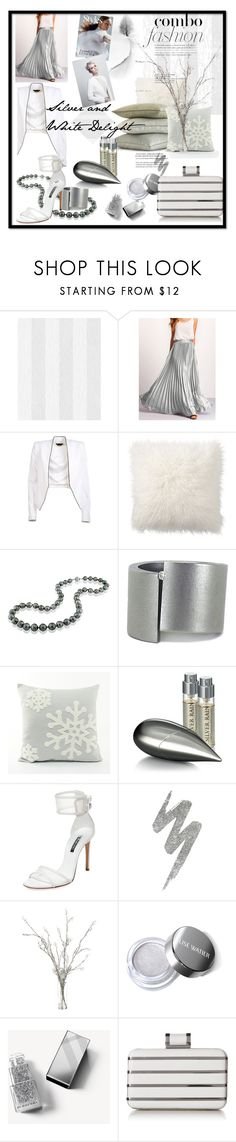 """Silver and White Delight"" by mariahedanne ❤ liked on Polyvore featuring Alice + Olivia, Pottery Barn, DaVonna, Niessing, La Prairie, Casadei, Urban Decay, Burberry and Halston Heritage"