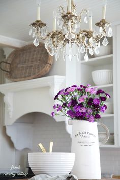 FRENCH COUNTRY COTTAGE: Weekend~Favorite Finds like the chandelier and built ins for my little kitchen