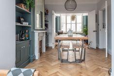 V4's Zigzag Herringbone Oak floors feature in Victorian town house, Hove Wood Floor Kitchen, Kitchen Flooring, Victorian Terrace, Victorian Homes, Parquet Flooring, Floors, Herringbone Wood Floor, Oak Table, White Walls