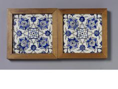 A pair of Damascus underglaze painted pottery Tiles Syria, 18th Century(2)