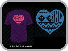 Aztec heart monogram custom shirt, shown with round monogram on back of shirt - pinned by pin4etsy.com