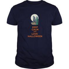 keep calm and love halloween T-Shirts, Hoodies. CHECK PRICE ==► https://www.sunfrog.com/Holidays/keep-calm-and-love-halloween-Navy-Blue-Guys.html?id=41382