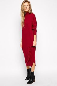 30 Sweaterdresses To Beat The Winter Blues #refinery29  http://www.refinery29.com/sweater-dress#slide-15  The longer the hem, the warmer your legs will be!...