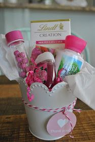 With teacher appreciation happening this week, I knew I wanted to do something nice for my 3 kids' teachers. I fell back on my usual gift i. gifts for kids basket Valentine Gift Baskets, Teacher Gift Baskets, Valentine Gifts For Kids, Teacher Valentine, Valentine Crafts, Homemade Gifts, Diy Gifts, Presents For Teachers, Teacher Appreciation Gifts