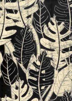10batik Tropical Hawaiian leafy screen-printed batik, cotton apparel fabric.