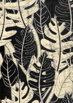 10batik Tropical Botanical Vintage Hawaiian Barkcloth Fabric - leafy screen-printed batik, cotton apparel fabric.