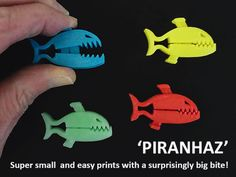 Piranhaz are a really small, easy and fun print with a big bite for their size. when you print some please post images of what your Piranhaz are fee 3d Printer Projects, Easy Projects, Diy 3d Drucker, Stackable Shelves, 3d Printing Diy, Perpetual Motion, Simple Prints, 3d Prints, Laser Cut Wood