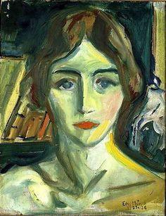 Edvard Munch - Birgit Prestøe, Portrait Study, 1924-25 davidcharlesfoxexpressionism.com #edvardmunch #expressionism