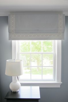 Pale blue roman blind with contrast ribbon braid by R Garner Custom Designs Blue Roman Blinds, Linen Roman Shades, Drapery Panels, Drapes Curtains, Valance, Window Blinds & Shades, Blinds For Windows, Dining Room Corner, Wardrobe Design Bedroom