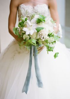 bouquet with ferns + gray blue ribbon