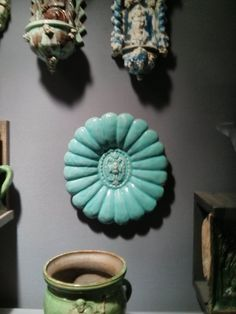 moulded dish, early 17th century, Austria  I absolutely love this. Beautiful sea green + flower-like moulding + detailed relief in the centre.