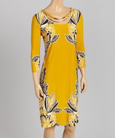 Another great find on #zulily! Gold & Black Floral-Accent Shift Dress #zulilyfinds