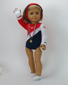 Team USA Gymnastics Outfit - clothes for American Girl® and other 18 inch dolls - leotard, Olympic medal, shoes, grips