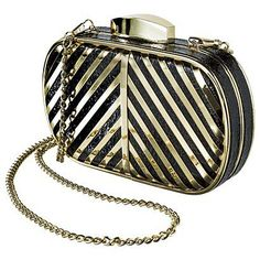 Under $25: Everyone needs a party clutch, and what could be better than a classic minaudière shape ($25) jazzed up with bold gold stripes and hardware?